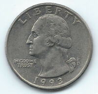 1993 D QUARTER 25C GEORGE WASHINGTON CIRCULATED UNGRADED USA COIN  2