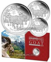 AUSTRALIA 2015 YEAR OF GOAT SHEEP RAM LUNAR ZODIAC 3 COIN SILVER PROOF SET