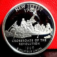 BEAUTIFUL FIRST YEAR HEAVY CAMEO 1999 S NEW JERSEY SILVER PROOF QUARTER
