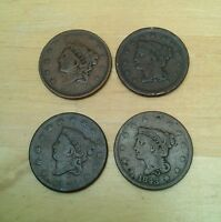 4 X LARGE ONE CENT USA OLD COINS 1820 1836 1843 1852