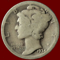 1934 D MERCURY 90 SILVER DIME SHIPS FREE. $2 OFF 5