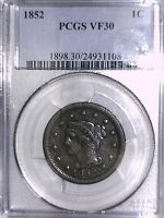 1852 LARGE CENT PCGS VF 30 24931108 CHIP ON CASE