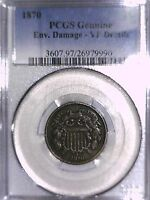 1870 TWO CENT PCGS GENUINE ENV. DAMAGE - VF DETAILS 26979990