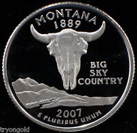 2007 S US SILVER MONTANA STATE QUARTER GEM PROOF DEEP CAMEO 90