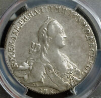 1766 RUSSIA EMPRESS CATHERINE II. LARGE SILVER ROUBLE COIN. PCGS AU 50