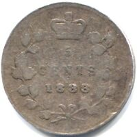 1888 CANADA FIVE CENTS COIN