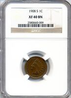 1908 S 1C INDIAN CENT NGC XF 40 BN KEY DATE