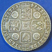 1741 1/  GEORGE II SILVER SHILLING IN A ATTRACTIVE GRADE