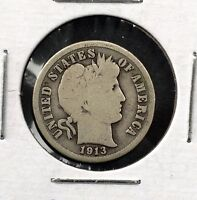 1913 10C BARBER SILVER DIME PARTIAL LIBERTY