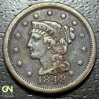 1848 BRAIDED HAIR LARGE CENT   MAKE US AN OFFER    O5878