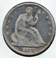 NICE  CIRCULATED 1875 SEATED HALF DOLLAR  GREAT COLLECTOR COIN BUY IT NOW