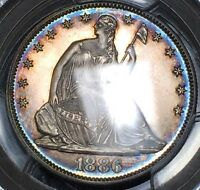1886 RAINBOW TONED LIBERTY SEATED SILVER CAMEO PROOF HALF DOLLAR   PCGS PR64 CAM