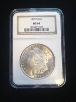 1879 S MORGAN SILVER DOLLAR NGC MINT STATE 64