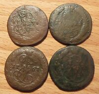 4 OLD RUSSIAN COIN DENGA /  1767 & 1770 & 1771 & 1775   CATHERINE II