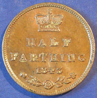 1843 VICTORIA TINY COPPER HALF FARTHING IN A LOVELY LUSTROUS AUNC