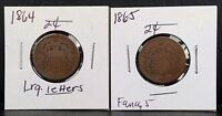 LOT OF 2 1864 & 1865 TWO-CENT BRONZE COIN 2C COINS
