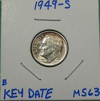 1949 S UNCIRCULATED SILVER ROOSEVELT DIME     WE COMBINE SHIPPING