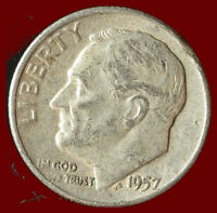1957 D ROOSEVELT 90 SILVER DIME SHIPS FREE. BUY 5 FOR $2 OFF