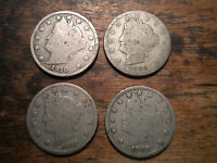 LOT OF 4 US LIBERTY NICKELS, FIVE CENT COINS, 1893, 1907, 1910, 1911
