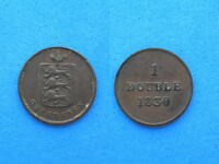 GUERNSEY 1 DOUBLE COIN 1830 18.9 MM