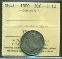 CANADA NEWFOUNDLAND NFLD 1900 20 CENTS SILVER GRADED ICCS F 12