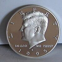 1995 S PROOF SILVER KENNEDY HALF DOLLAR   GEM CAMEO COIN