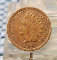1908 S INDIAN HEAD CENT NICE KEY DATE INDIAN CENT COIN EARLY US TYPE COIN