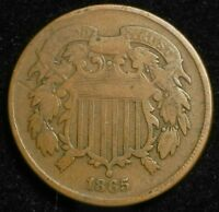 1865 TWO CENT PIECE KEY DATE BETTER GRADE COIN 2C $
