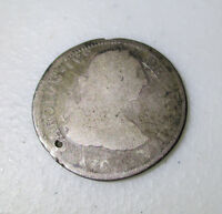 1790 CAROLUS IV SILVER 2 REAL COLONIAL COIN
