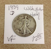 1939 D LIBERTY WALKING SILVER HALF DOLLAR   VF