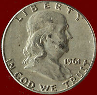 1961 P FRANKLIN 90 SILVER HALF DOLLAR SHIPS FREE. BUY 5 FOR $2 OFF.