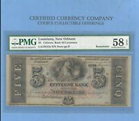 1860'S $ 5 CITIZENS BANK OF LOUISANA OBSOLETE NOTE PMG AU 58 NEAT COLLECTIBLE