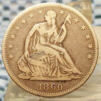 1860 SEATED LIBERTY HALF DOLLAR SILVER COIN NICE BETTER DATE COIN