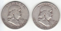 1951 D & 1951 S FRANKLIN 90 SILVER HALF DOLLAR. LOT OF TWO 2. VF.