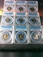 LOT OF NINE 25C PCGS PR69DCAM 1973 1981 & 1976 SILVER 9X GRADED COINS 9X25C 28