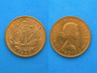 UK GREAT BRITAIN 1/2 PENNY COIN 1960 UNC RED COLOR 25.5 MM
