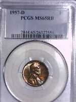 1957 D LINCOLN WHEAT CENT PCGS MS 65 RB 26327556