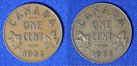 CANADA 1 CENT 1932 AND 1933 GEORGE V