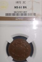 1872 2C BN TWO CENT PIECE NGC MINT STATE 61