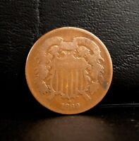 1869 TWO-CENT BRONZE 2C COIN