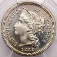 1882 PROOF 3 CENT NICKEL PCGS PR 67 CAC APPROVED