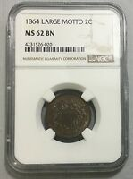1864 LARGE MOTTO 2C TWO CENTS NGC MINT STATE 62 BN