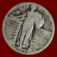1928 P STANDING LIBERTY 90 SILVER QUARTER SHIPS FREE. BUY 5 FOR $2 OFF