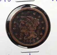 1848 1C BRAIDED HAIR LARGE CENT COPPER COIN