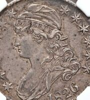 1826 CAPPED BUST NGC AU50 SILVER HALF DOLLAR OVERTON ABT UNCIRCULATED TYPE COIN
