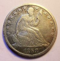 1858 O SEATED HALF DOLLAR SHARP NICE
