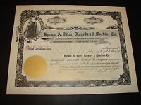 EARLY 1900S HYRUM A. SILVER FOUNDRY & MACHINE CO  ORIGINAL NEW STOCK CERTIFICATE