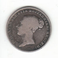 1843 GREAT BRITAIN QUEEN VICTORIA SILVER SIXPENCE.  .