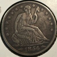 1854 P LIBERTY SEATED SILVER 50 CENTS