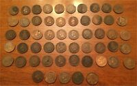 US INDIAN HEAD CENTS CENT 50 COIN ROLL PENNIES PENNY PENNYS INC 1800S 1909 WHEAT
